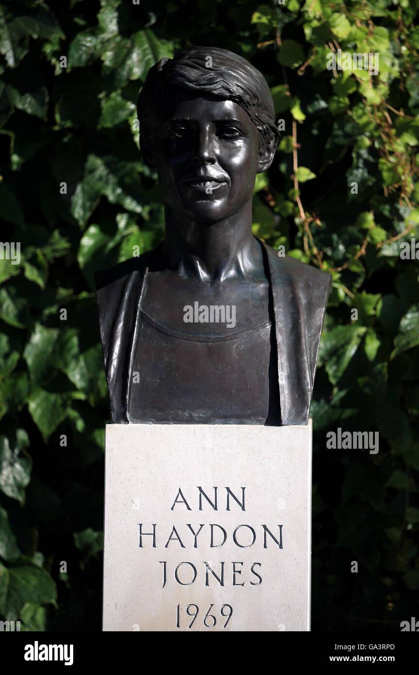 A Statue of former player Ann Haydon Jones outside centre court on