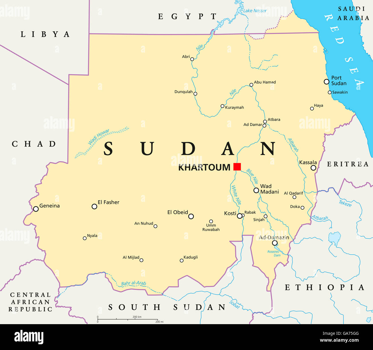 Sudan Political Map With Capital Khartoum National Borders Stock - Sudan map