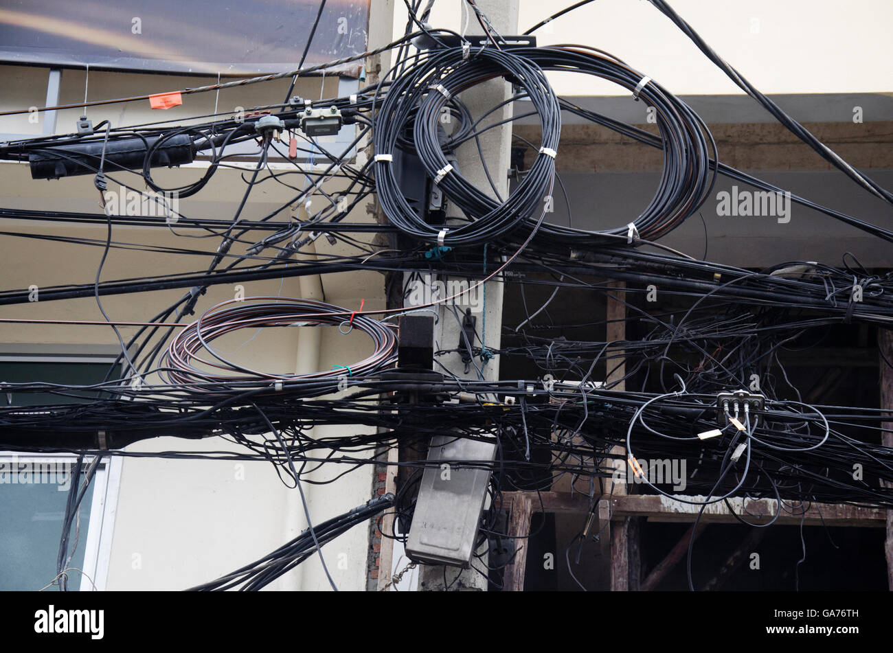 many wires messy with power line cables transformers and phone lines GA76TH many wires messy with power line cables, transformers and phone old phone line wiring at aneh.co
