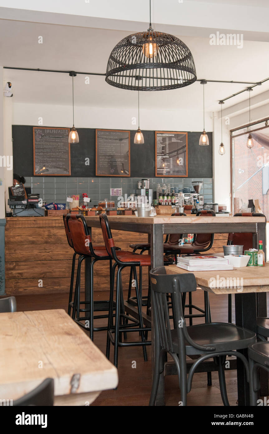 view inside a stylish rustic coffee shop stock photo: 109666827