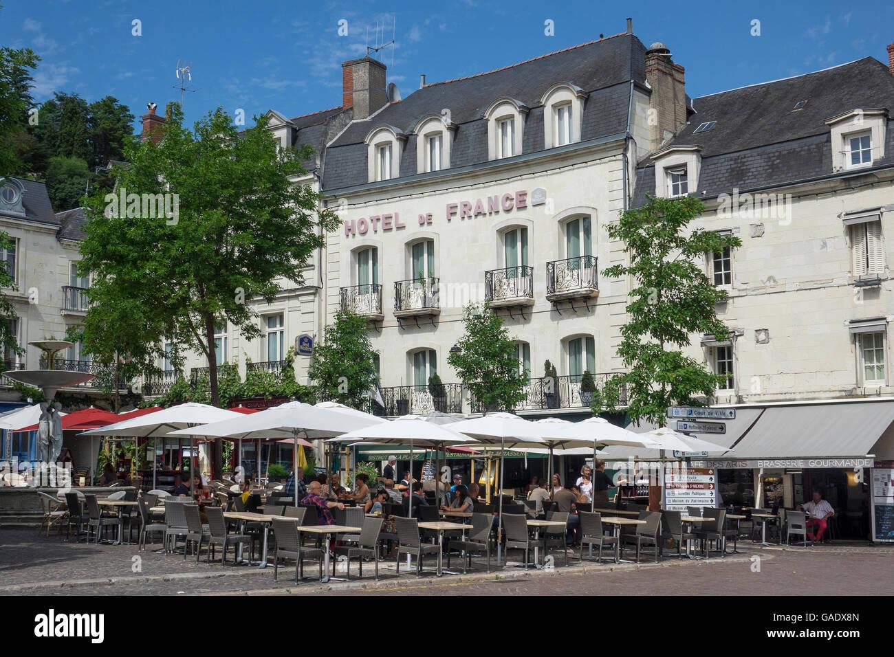 France, Indre-et-Loire, Chinon, old town,Hotel de France ...