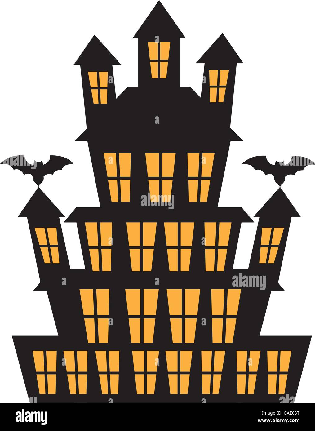 Big haunted house with bats over white background cartoon - Cartoon haunted house pics ...