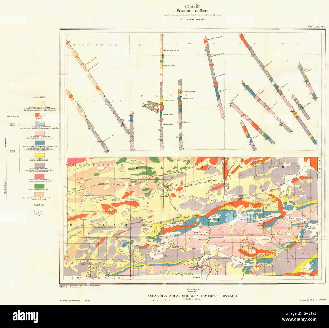 CANADA Map 180A Espanola Area Sudbury district Ontario Stock