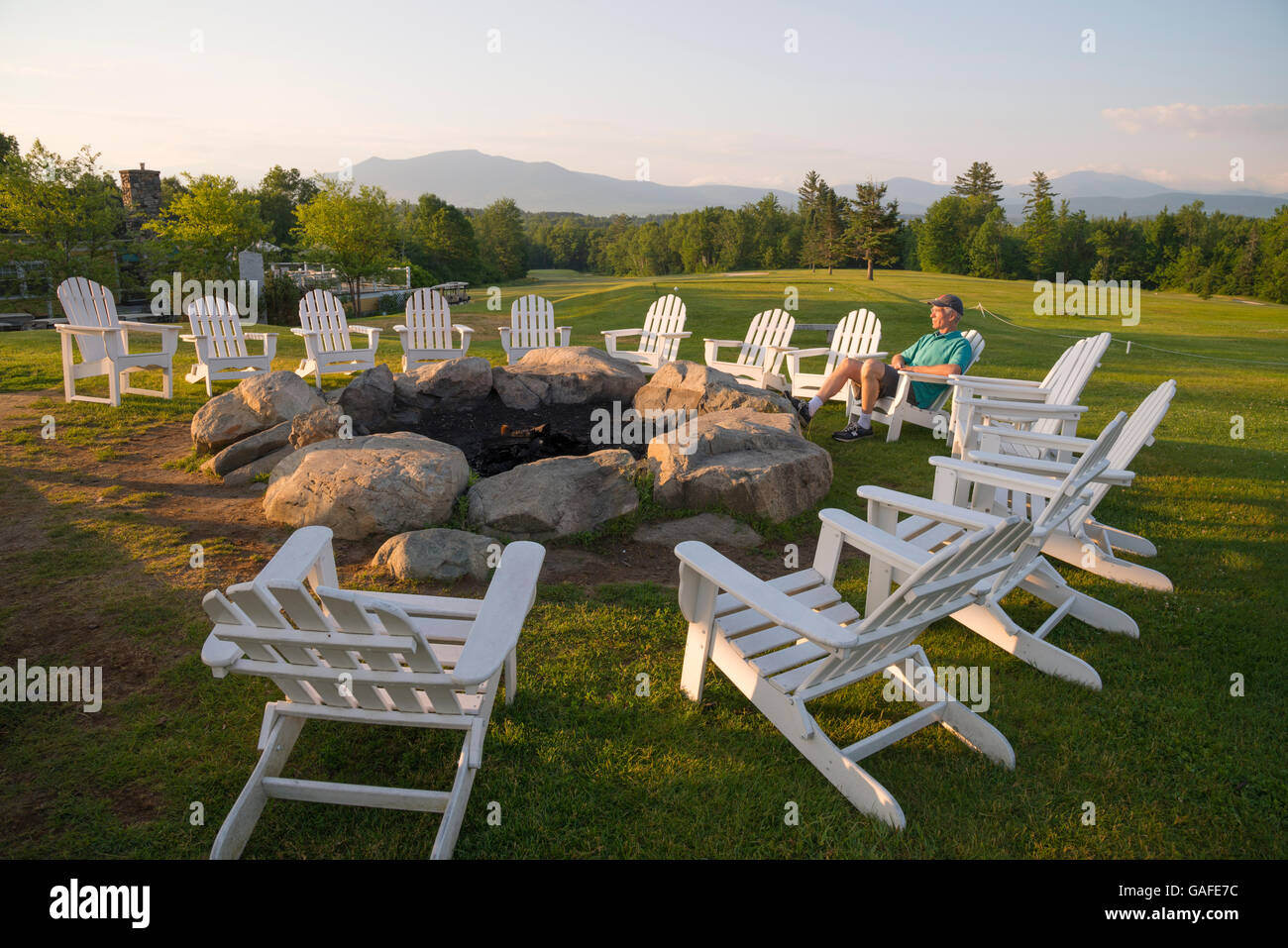 Adirondack Chairs Around Fire Pit Summer Mountain View