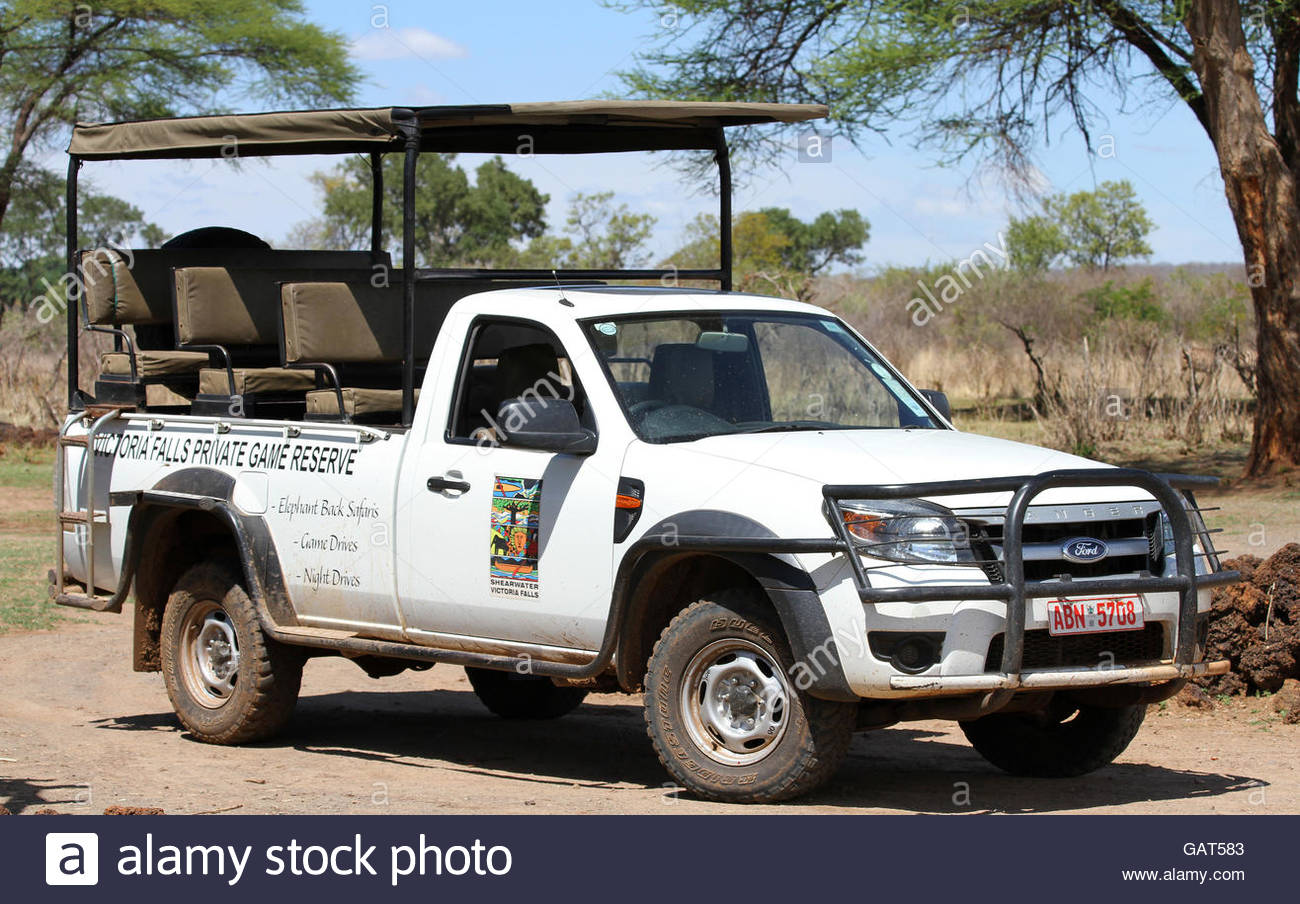 Ford ranger safari pickup truck victoria falls private game reserve zimbabwe stock