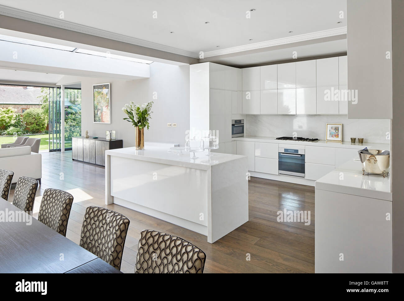 Oblique View Towards Modern White Kitchen Interior With Fair Timber Flooring Private House Highlever