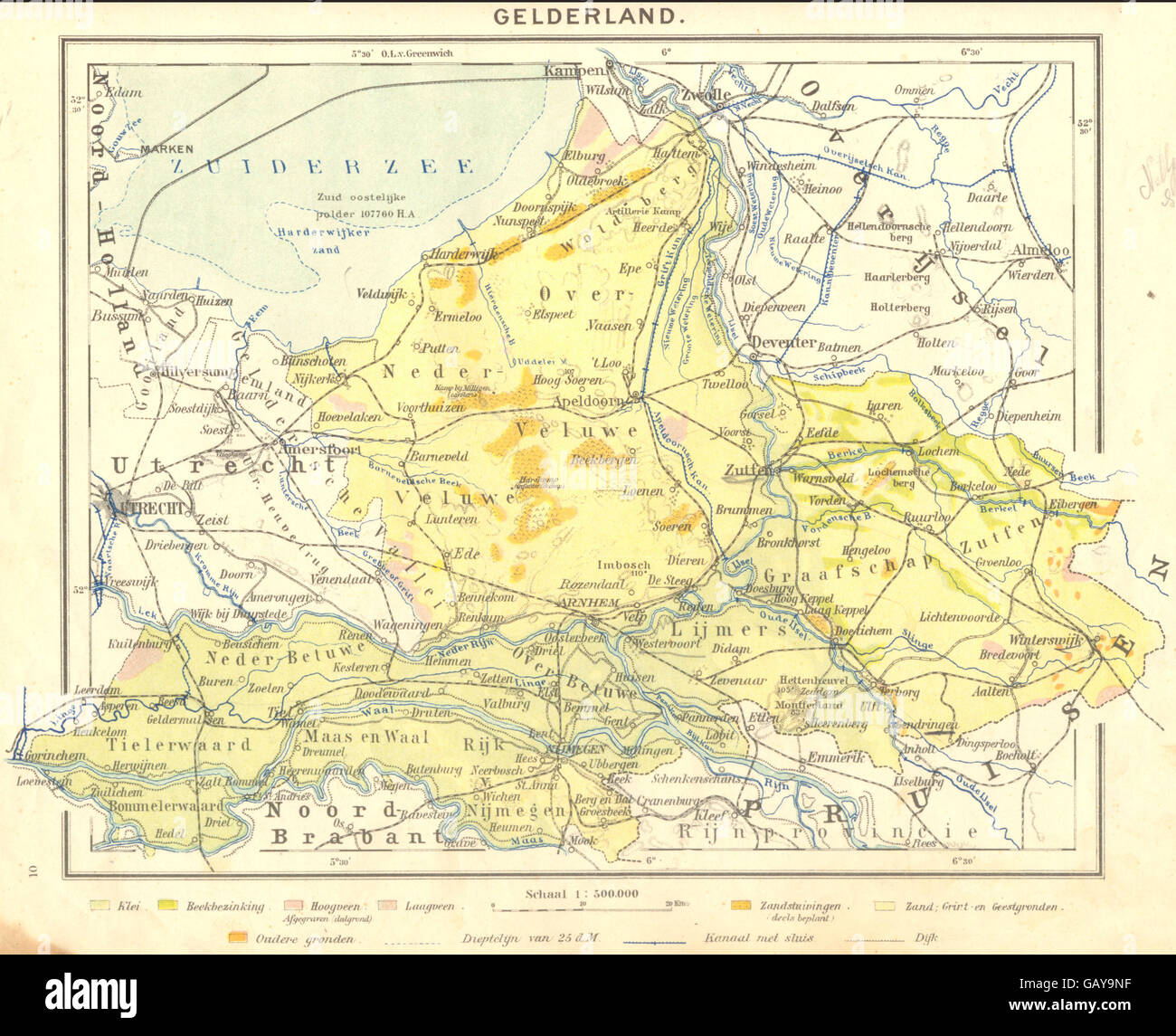 NETHERLANDS Gelderland 1922 vintage map Stock Photo Royalty Free