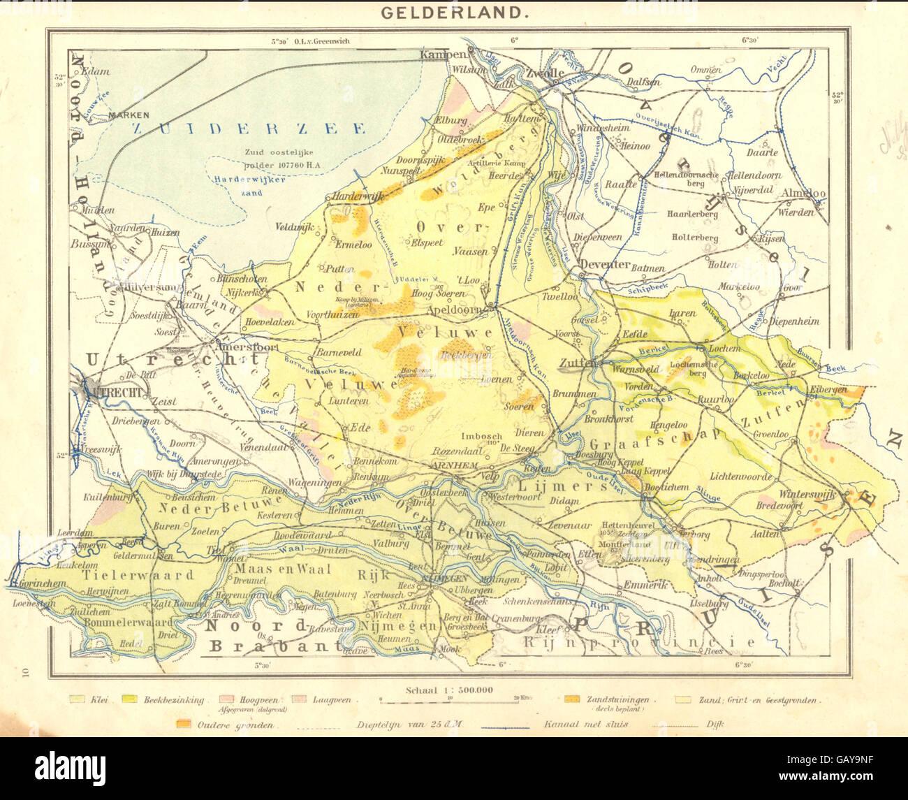 NETHERLANDS Gelderland 1922 vintage map Stock Photo Royalty Free