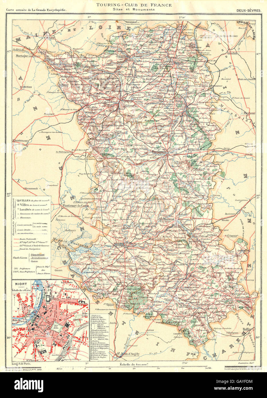 DEUXSVRES Dpartement Inset city town map plan of Niort 1904