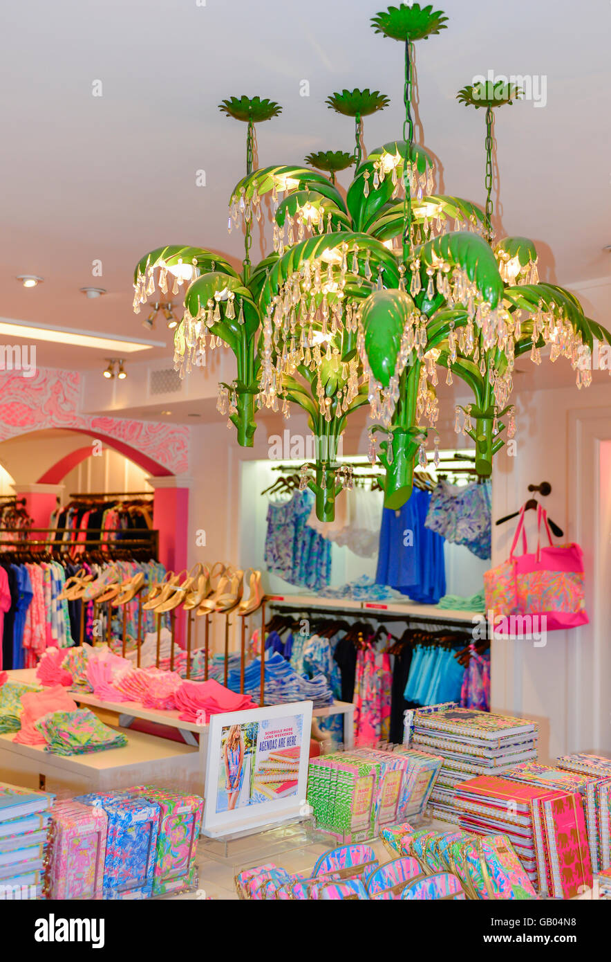 A green palm tree motif chandelier hangs inside lilly pulitzer a green palm tree motif chandelier hangs inside lilly pulitzer pink resort fashion store on st armands circle in sarasota fl aloadofball Choice Image