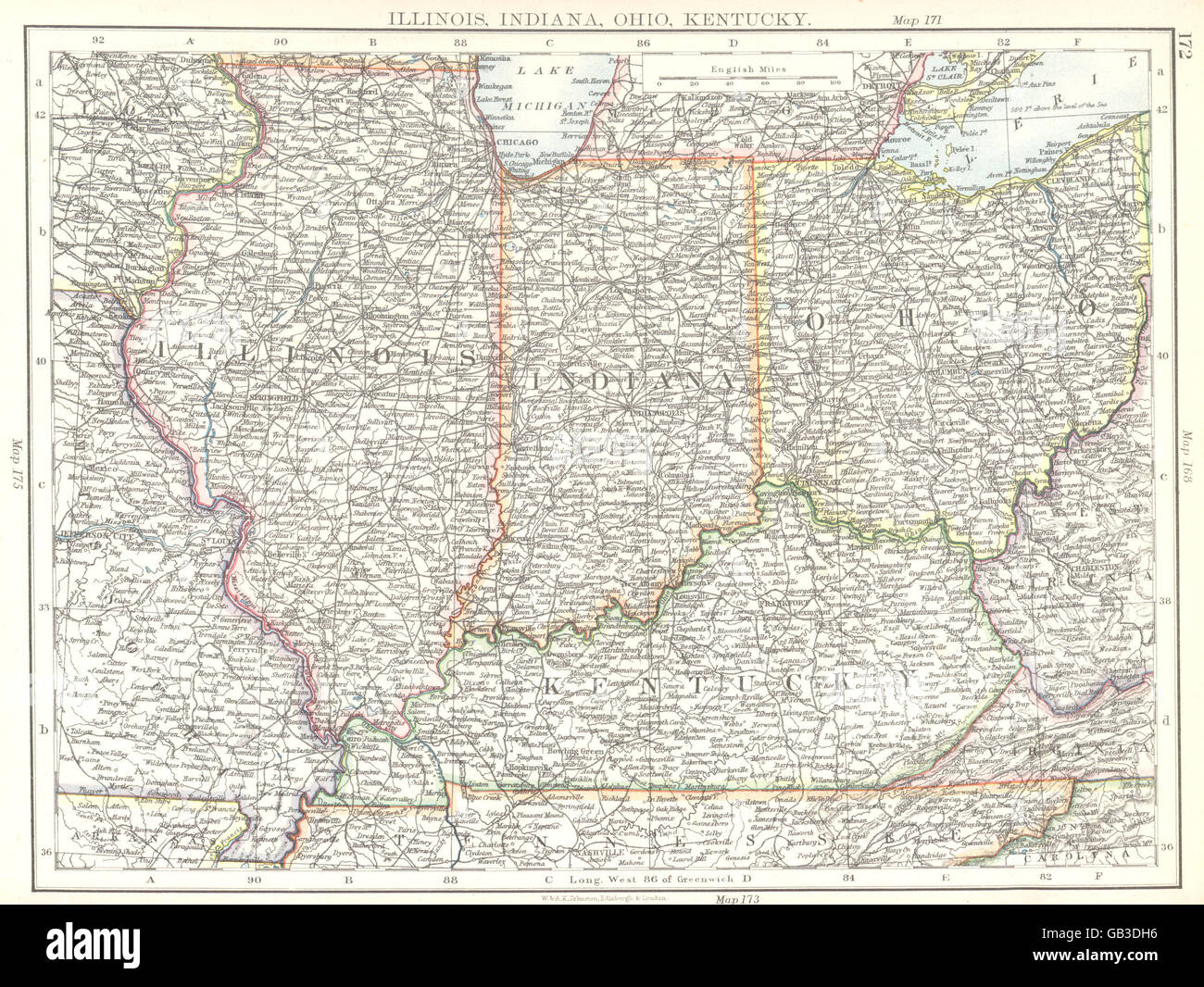 USA MID WEST Illinois Indiana Ohio Kentucky Antique Map - Indiana on map of usa