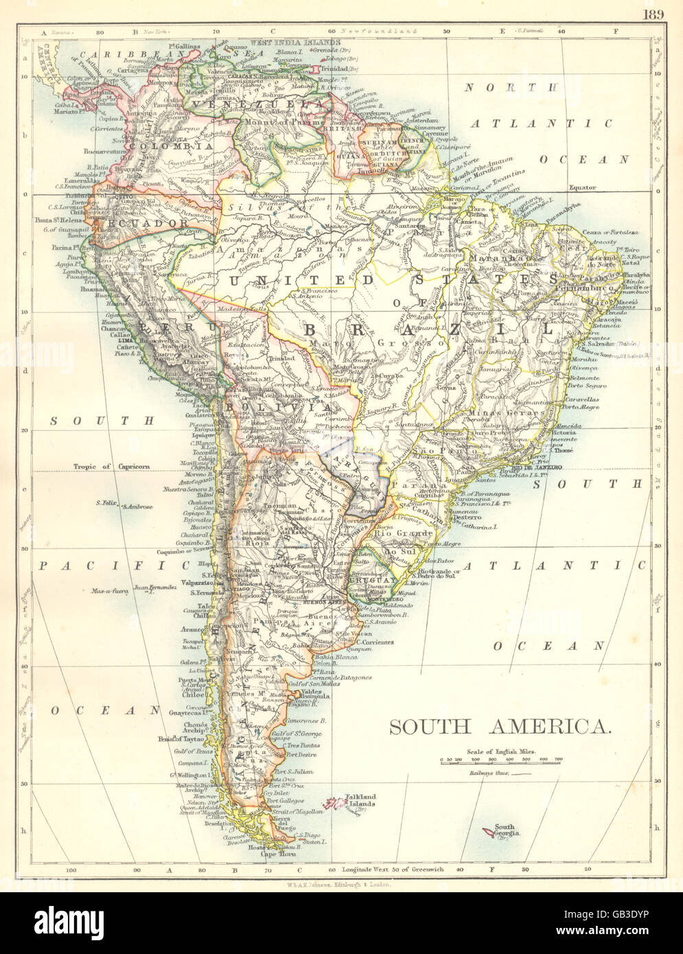 SOUTH AMERICA Brazil Argentina Peru Bolivia Paraguay Uruguay - Uruguay map atlas