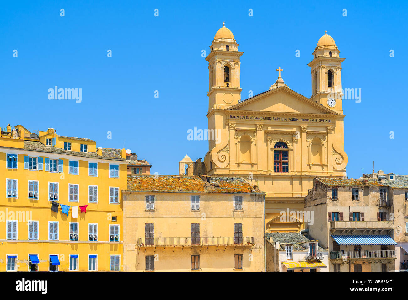 Cafe in the vieux port terra vecchia bastia corsica france stock - A View Of Cathedral Building In Bastia Port Corsica Island France Stock Image