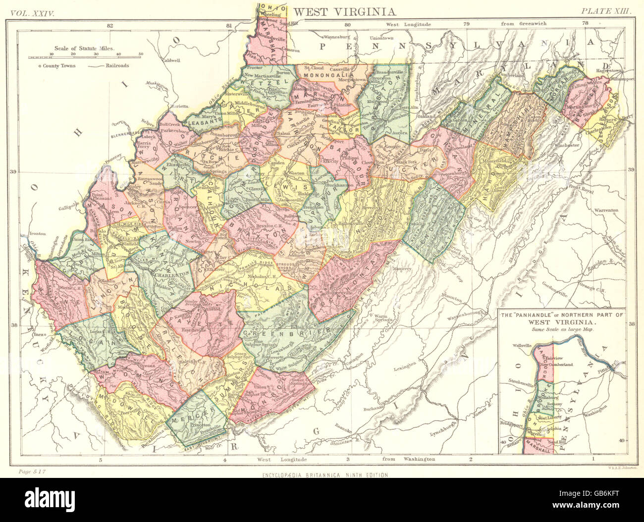 WEST VIRGINIA State Map Showing Counties Britannica Th Edition - Virginia state map