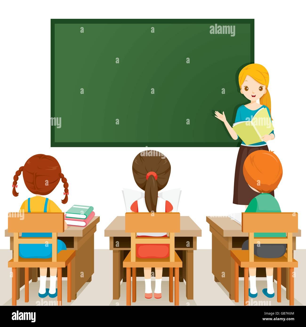 teacher teaching students in classroom world book day