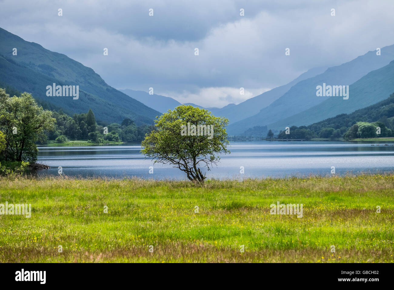 Iconic Scottish Scenery Looking Towards Loch Voil From Balquhidder With  Hills And Glens Beyond