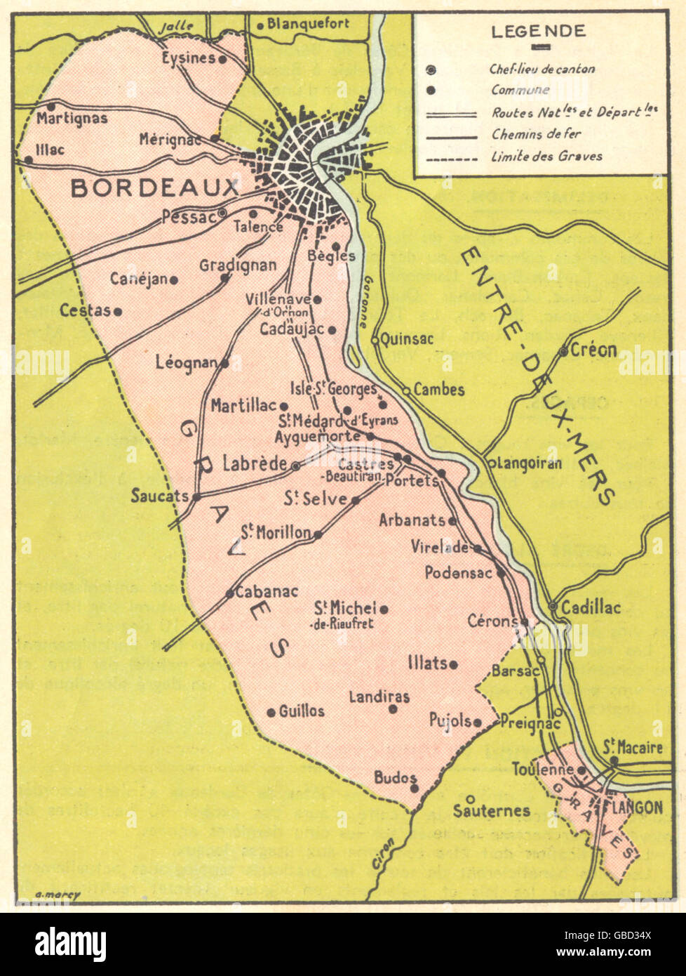BORDEAUX WINE MAP Carte des Graves 1939 Stock Photo 110311290 Alamy