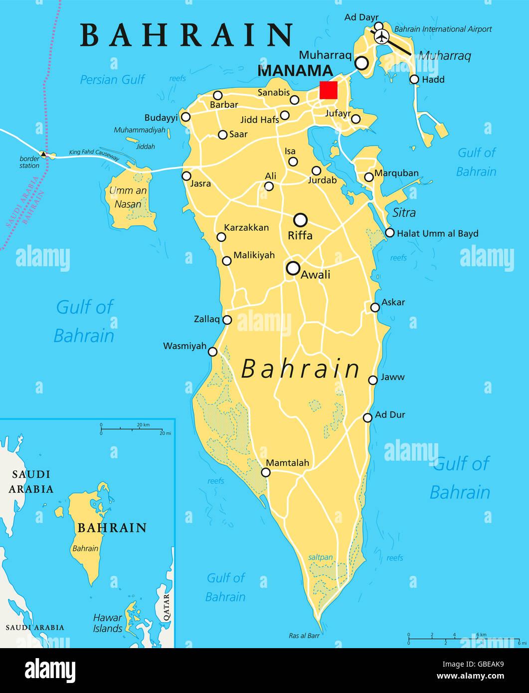 Bahrain Political Map With Capital Manama Island Country Stock - Bahrain map