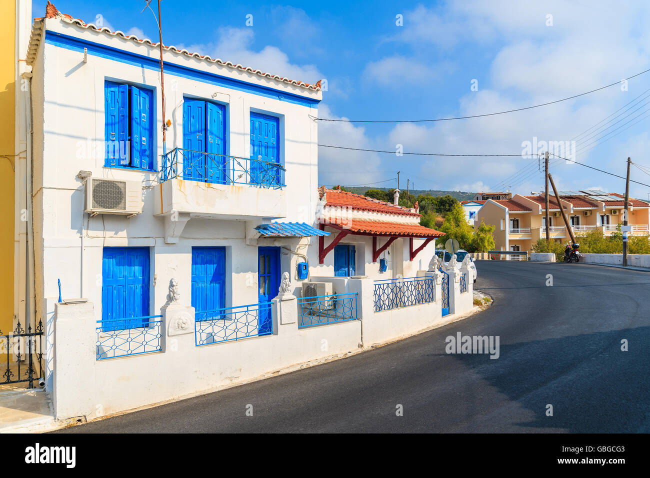 Greek Style House typical greek style houses on street of pythagorion town, samos