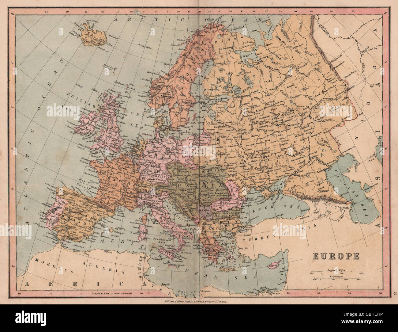 Europe political united germany marked as prussia collins 1880 united germany marked as prussia collins 1880 antique map gumiabroncs Images