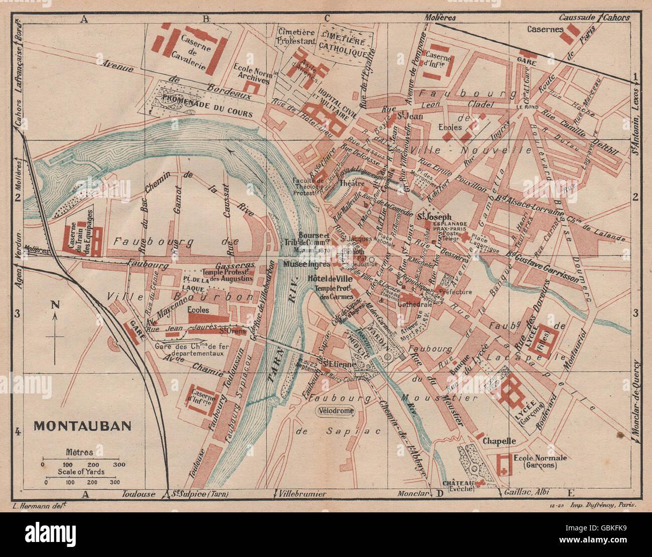 MONTAUBAN Vintage town city map plan TarnetGaronne 1921 Stock