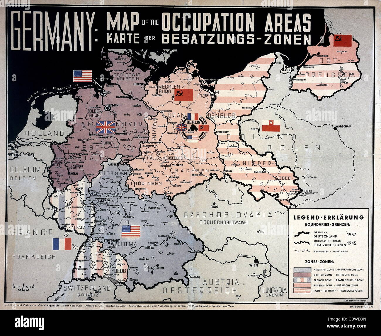 Postwar Period Germany Allied Occupation Map Of The Occupation - Germany map 1945
