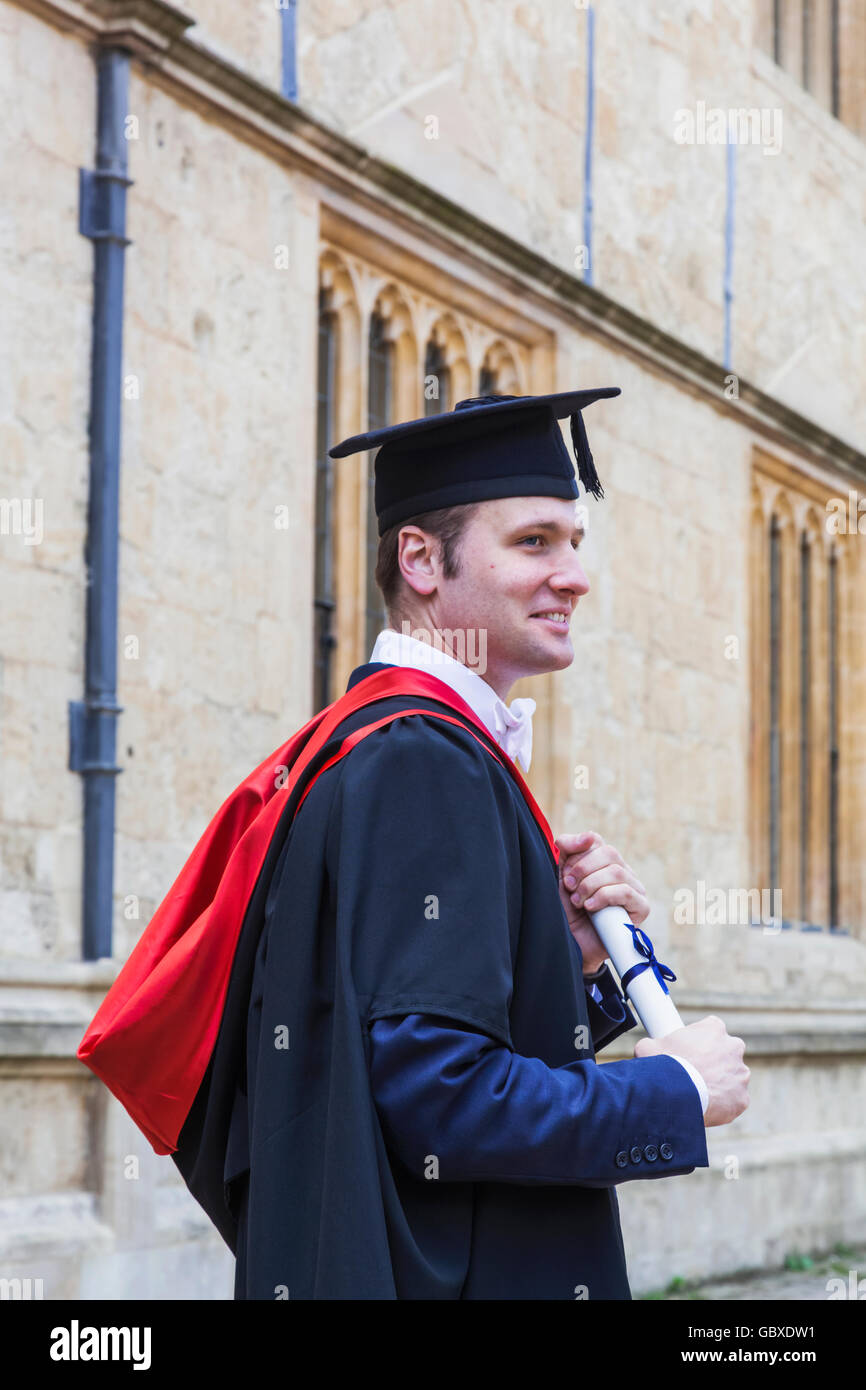 England, Oxfordshire, Oxford, Student Dressed in Graduation Gown ...