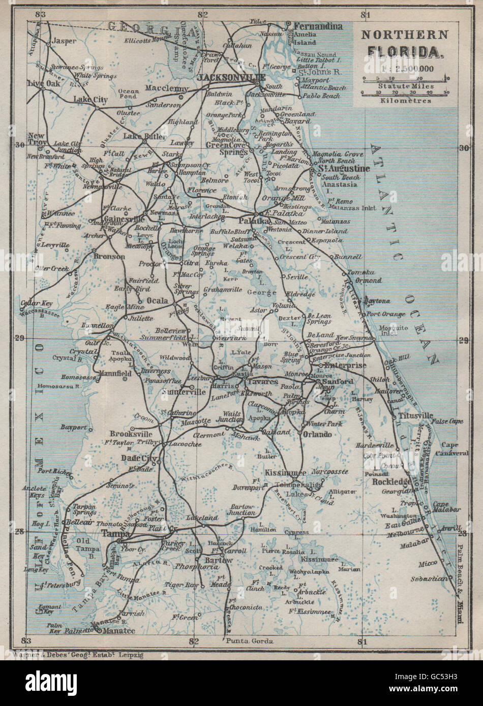 NORTHERN FLORIDA Jacksonville St Augustine Tampa BAEDEKER - Map of northern florida