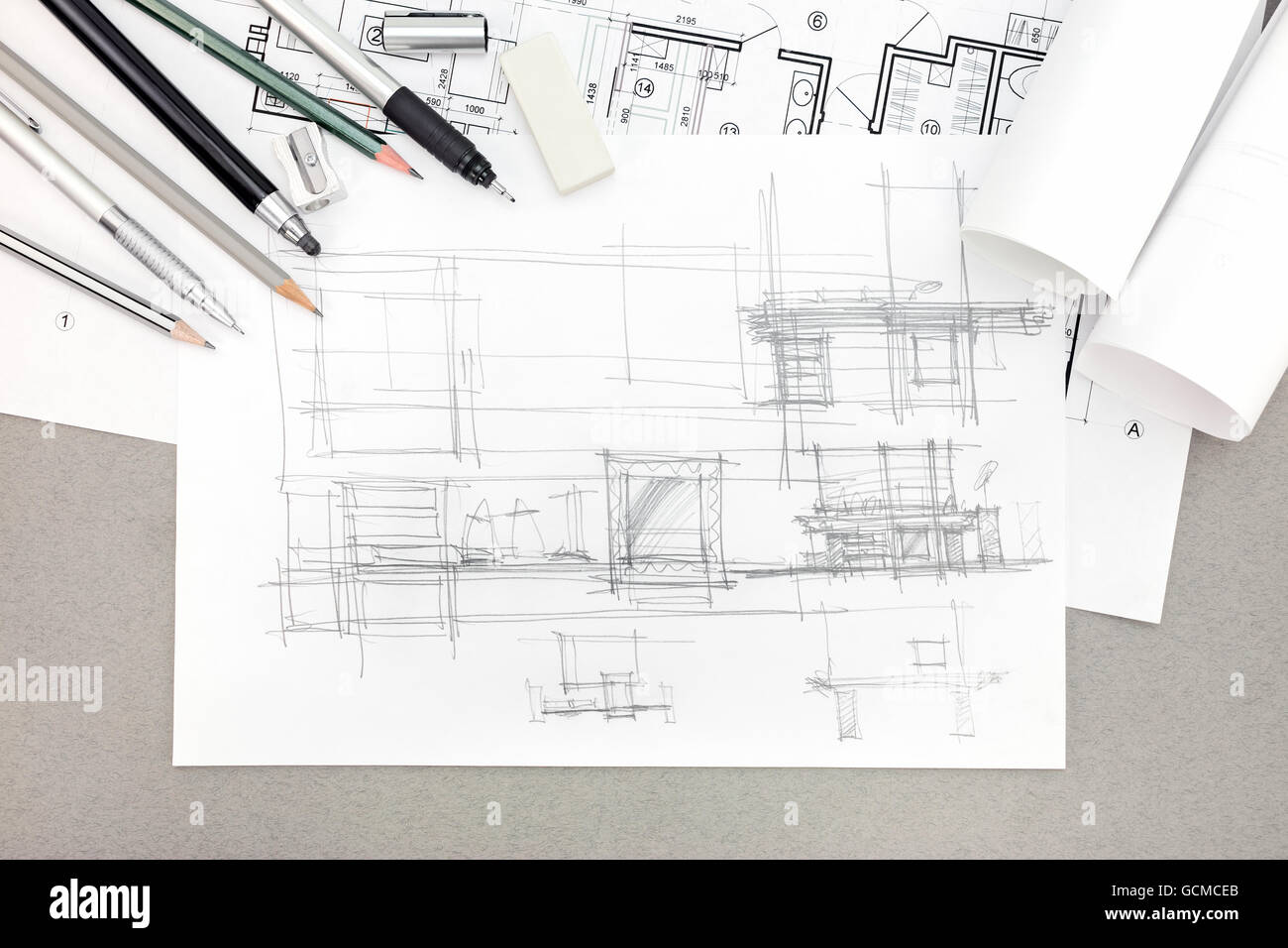 Concept Of Home Renovation Architectural Sketch With Drawing Tools Top View
