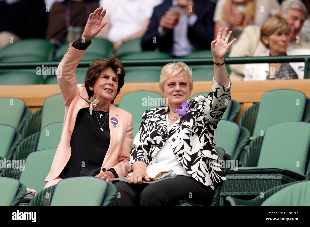 Maria Bueno and Barbara Wancke in the royal box on day twelve of