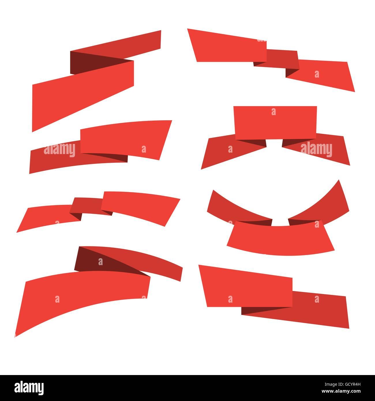 Design elements banner - Stock Vector Red Banner Ribbon Set Web Design Elements Vector Illustration