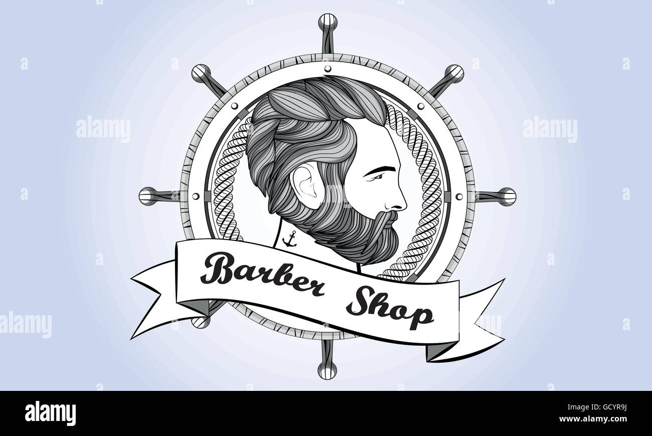 barber shop logo man beard vintage retro stock vector art