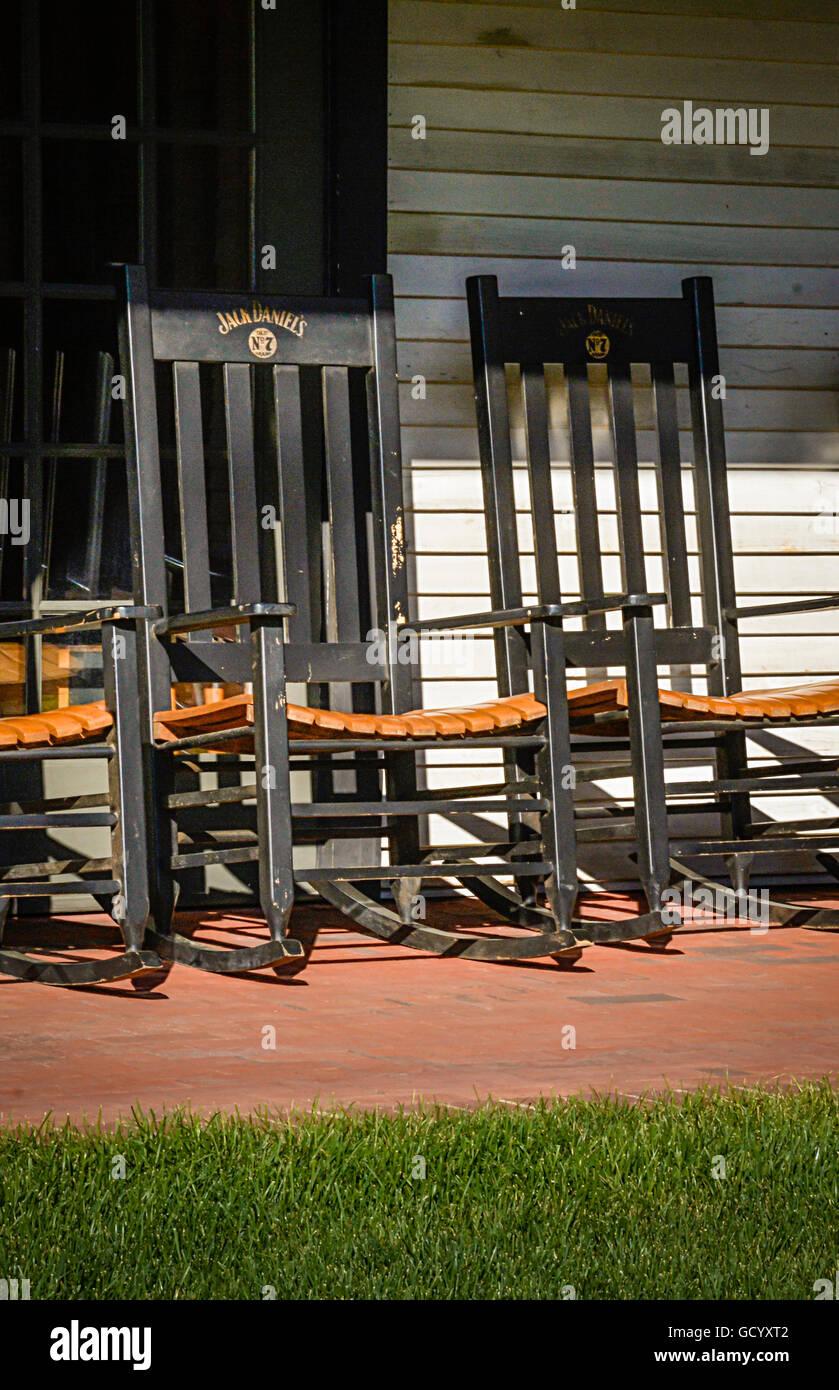Several Branded Jack Daniels No  Black Wooden Rocking Chairs On Veranda Of The Jack Daniels Distillery In Lynchburg Tn
