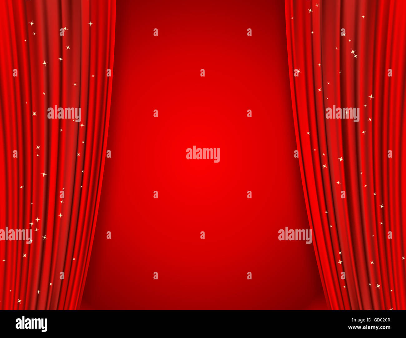 Red Curtains On Red Background With Glittering Stars Open Curtains Stock Photo Royalty Free
