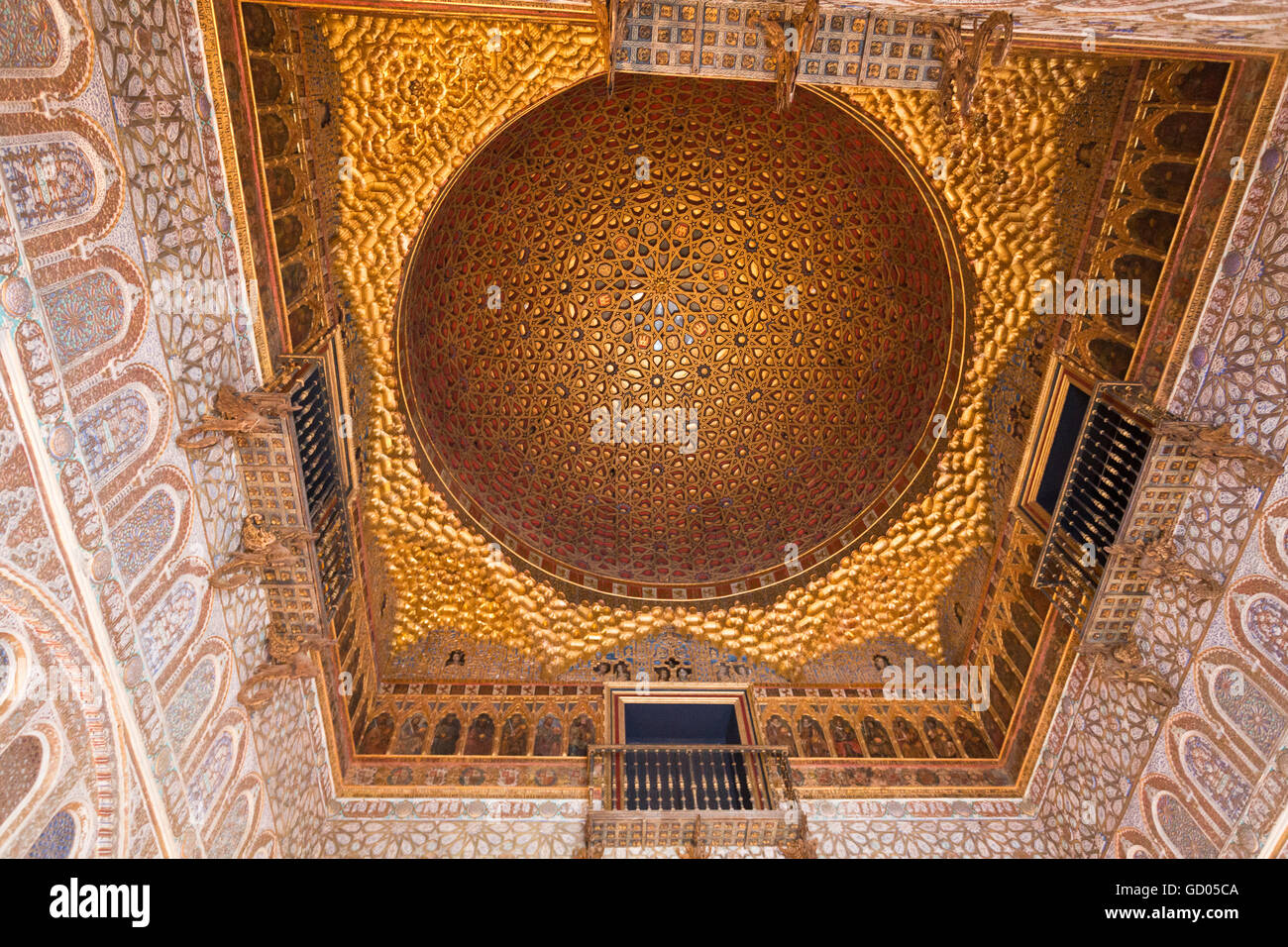 The golden dome of the Salon de los Embajadores (Hall of Stock Photo, Royalty...