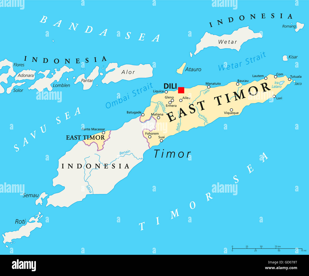 East Timor political map with capital Dili national borders Stock