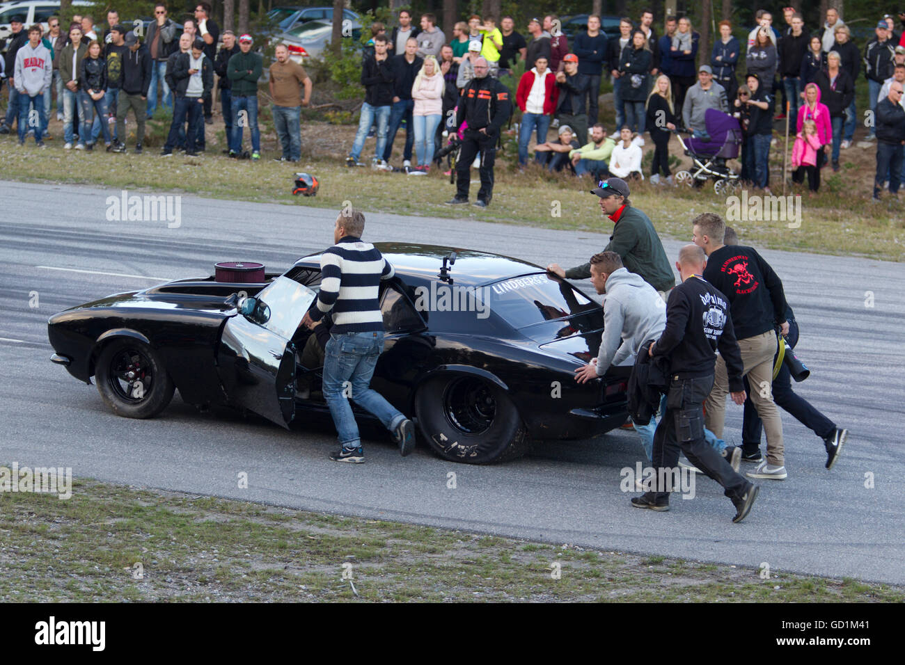 cars in an illegal street race in sweden stock photo
