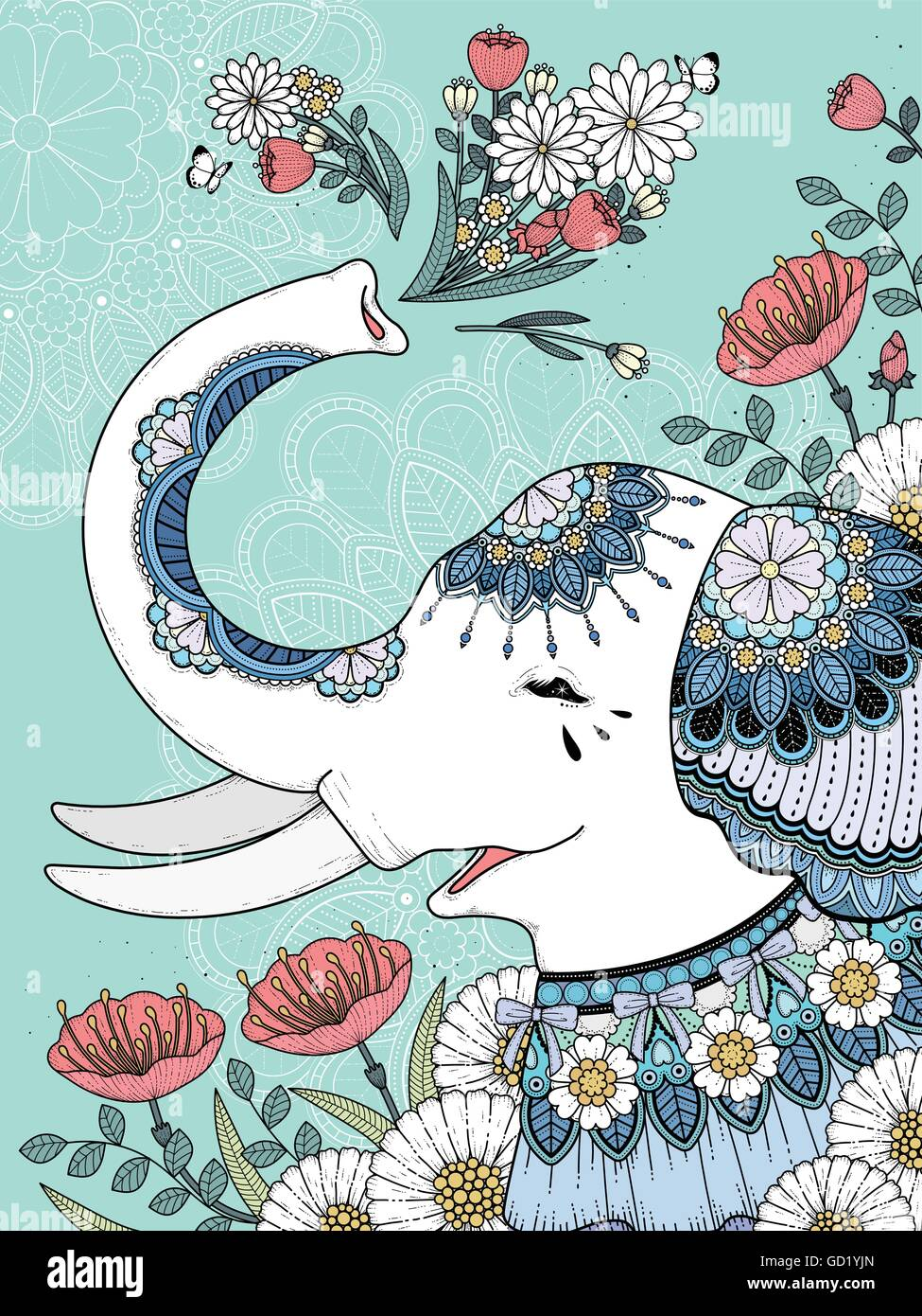 Beautiful White Elephant Coloring Page With Floral Background