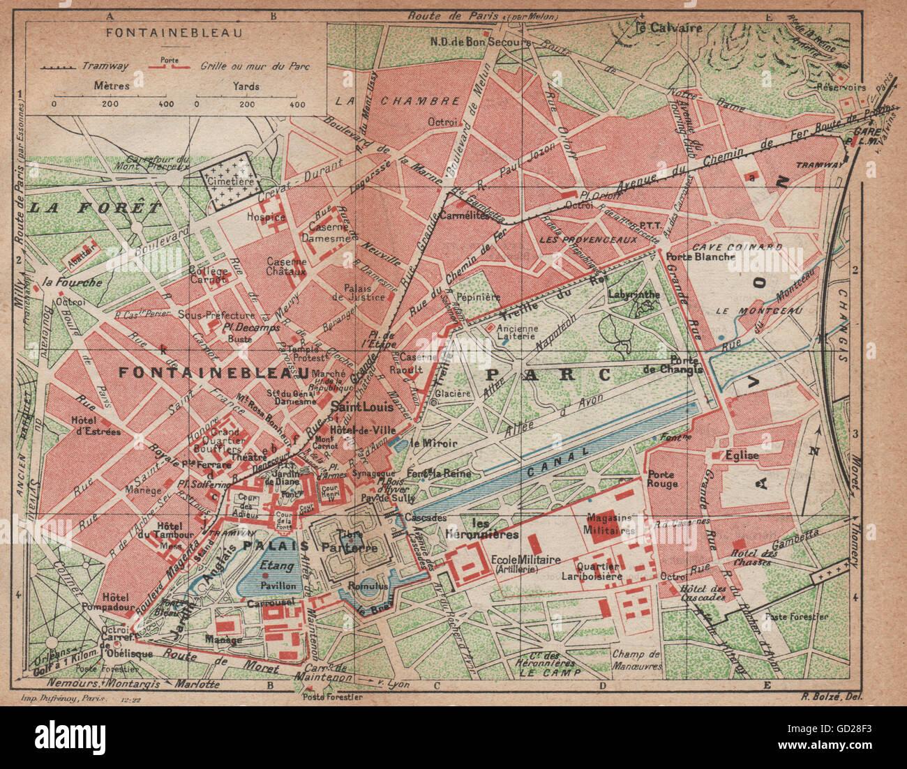 FONTAINEBLEAU Vintage town city map plan Palace Palais Stock Photo