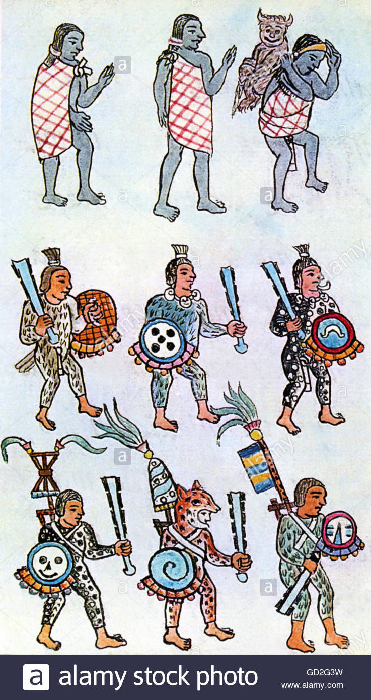 Deciding stock illustrations royalty free gograph - Geography Travel Mexico People Aztecs Warriors And Carriers Miniature