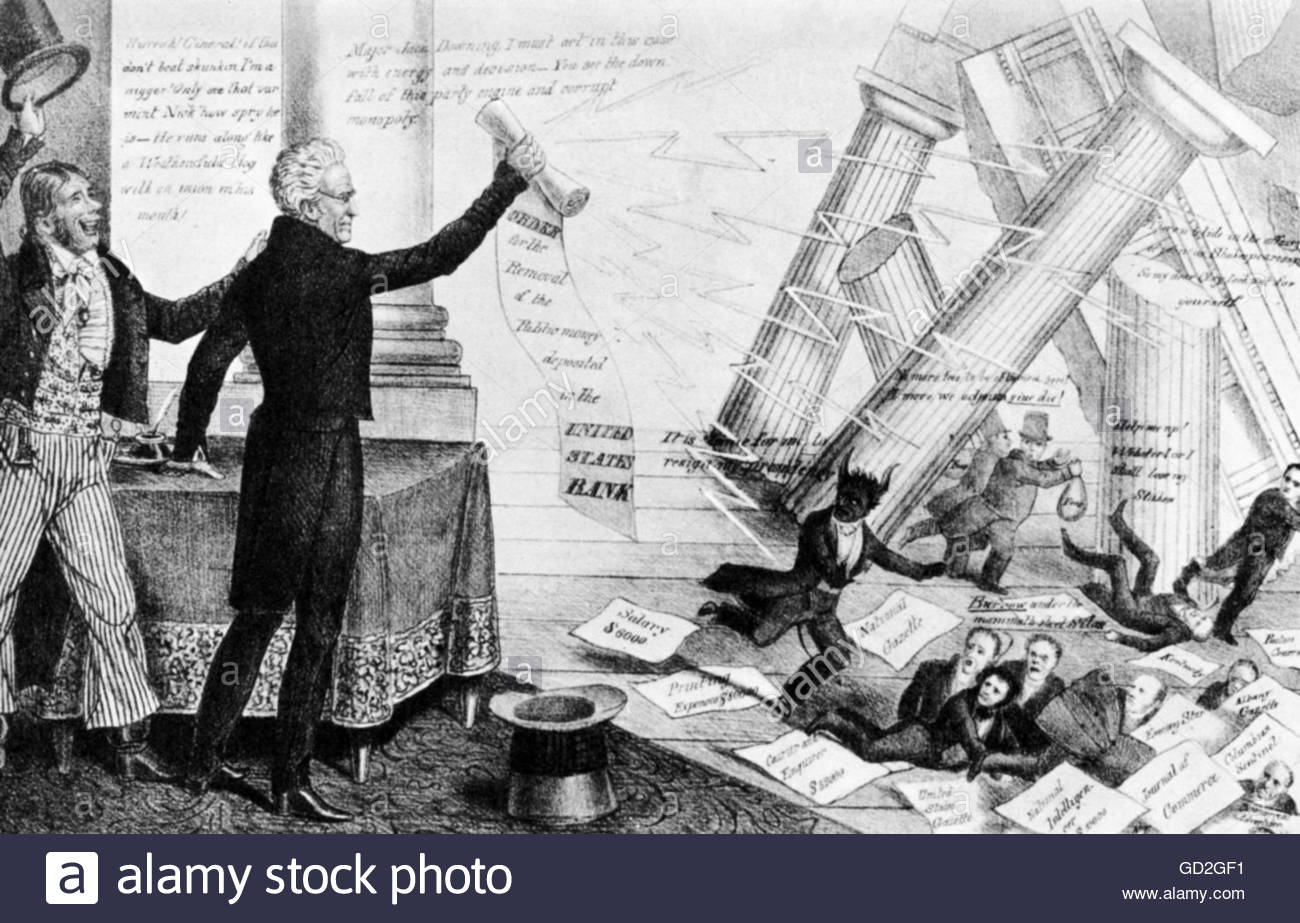 president andrew jackson removing the federal funds from the national bank caricature 1833