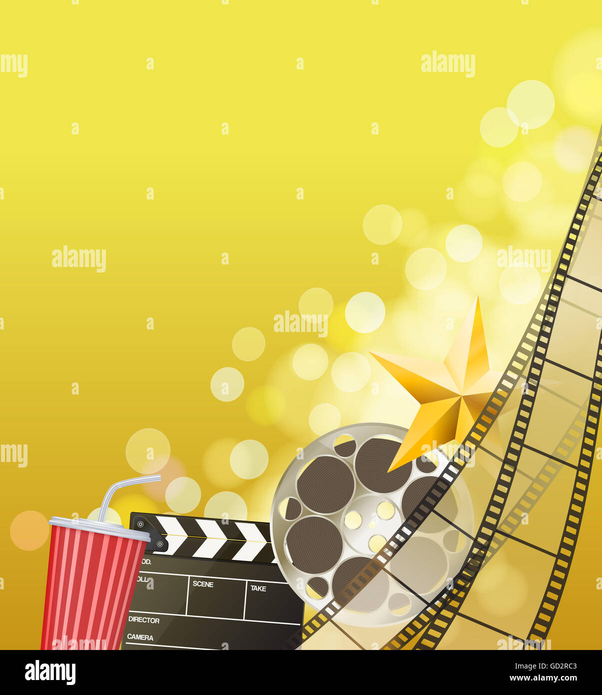 cinema background with filmstrip golden star cup