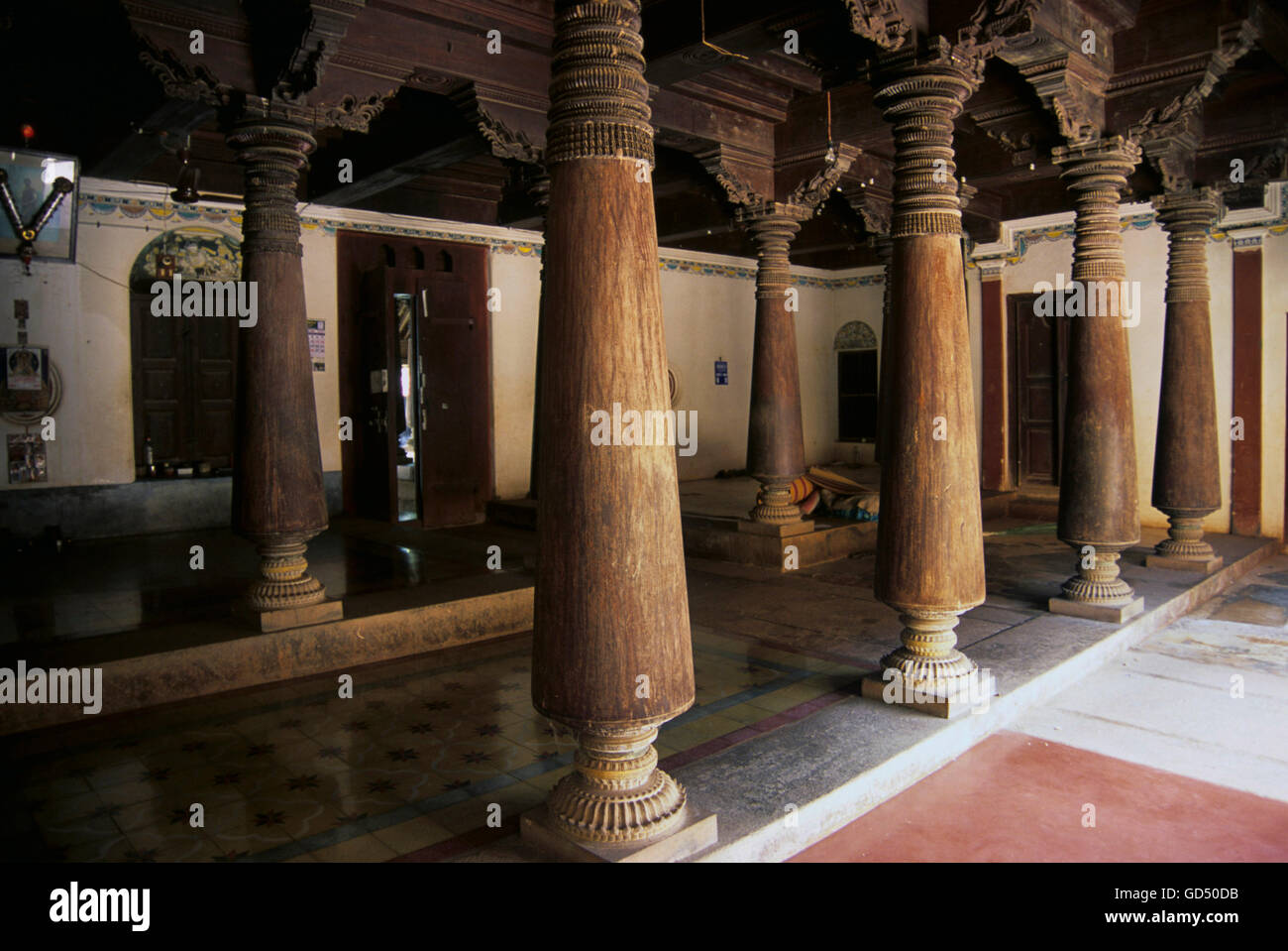 Wooden Pillars With Incredible Work In House Chettinad