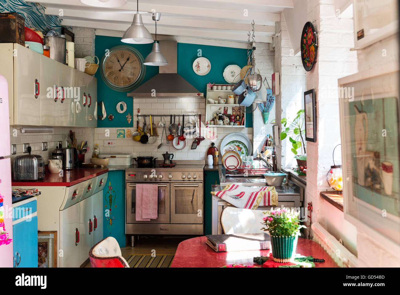 Eclectic Kitchen With 1950 S English Rose Units And St