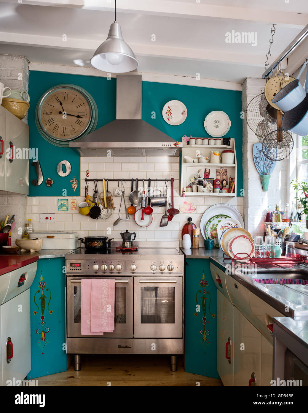 Eclectic Kitchen Eclectic Kitchen With 1950s English Rose Units And St Giles Blue