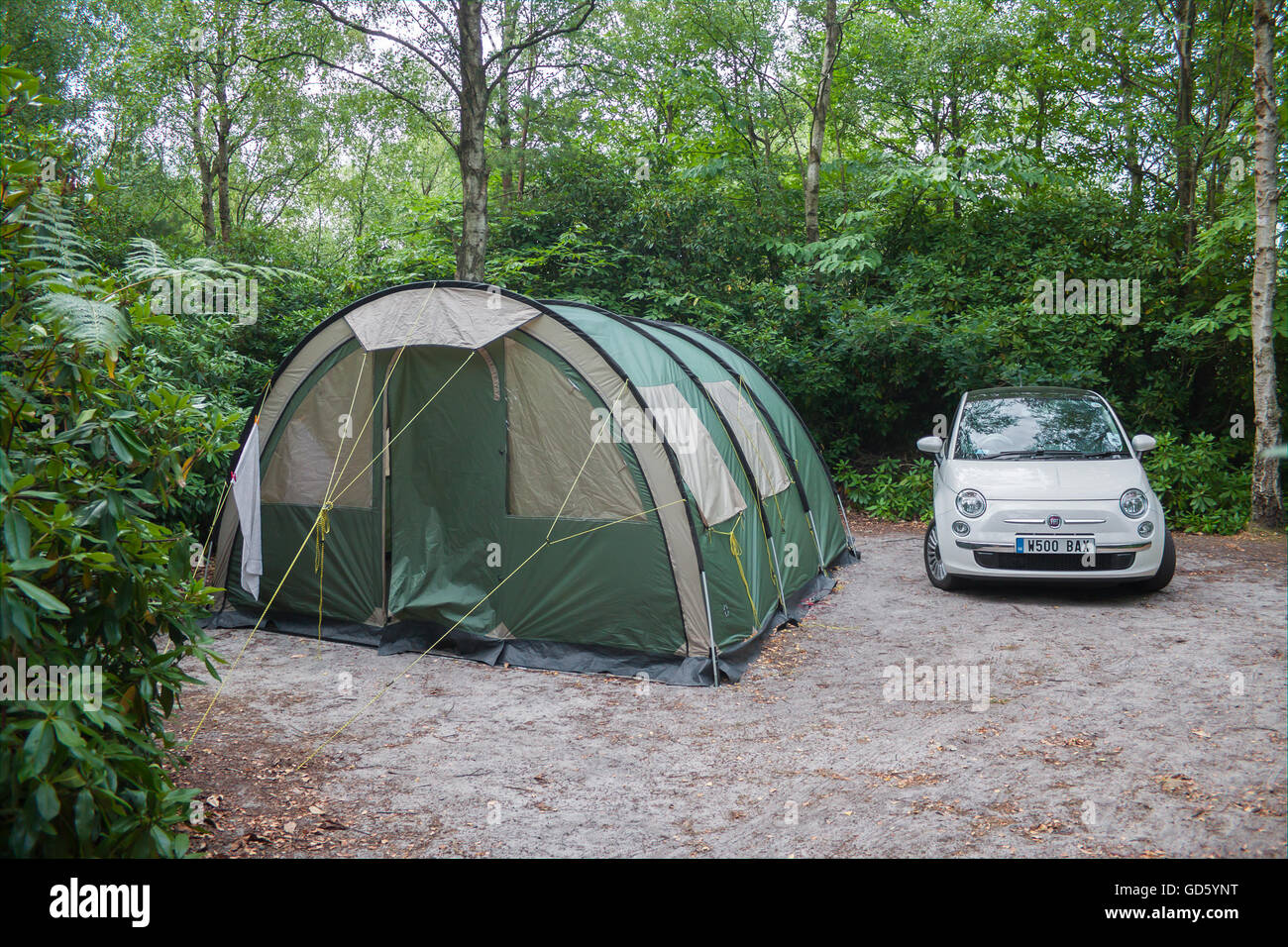 Woodland C&ing C&ing in Woods Tunnel Tent and Fiat 500 & Woodland Camping Camping in Woods Tunnel Tent and Fiat 500 Stock ...
