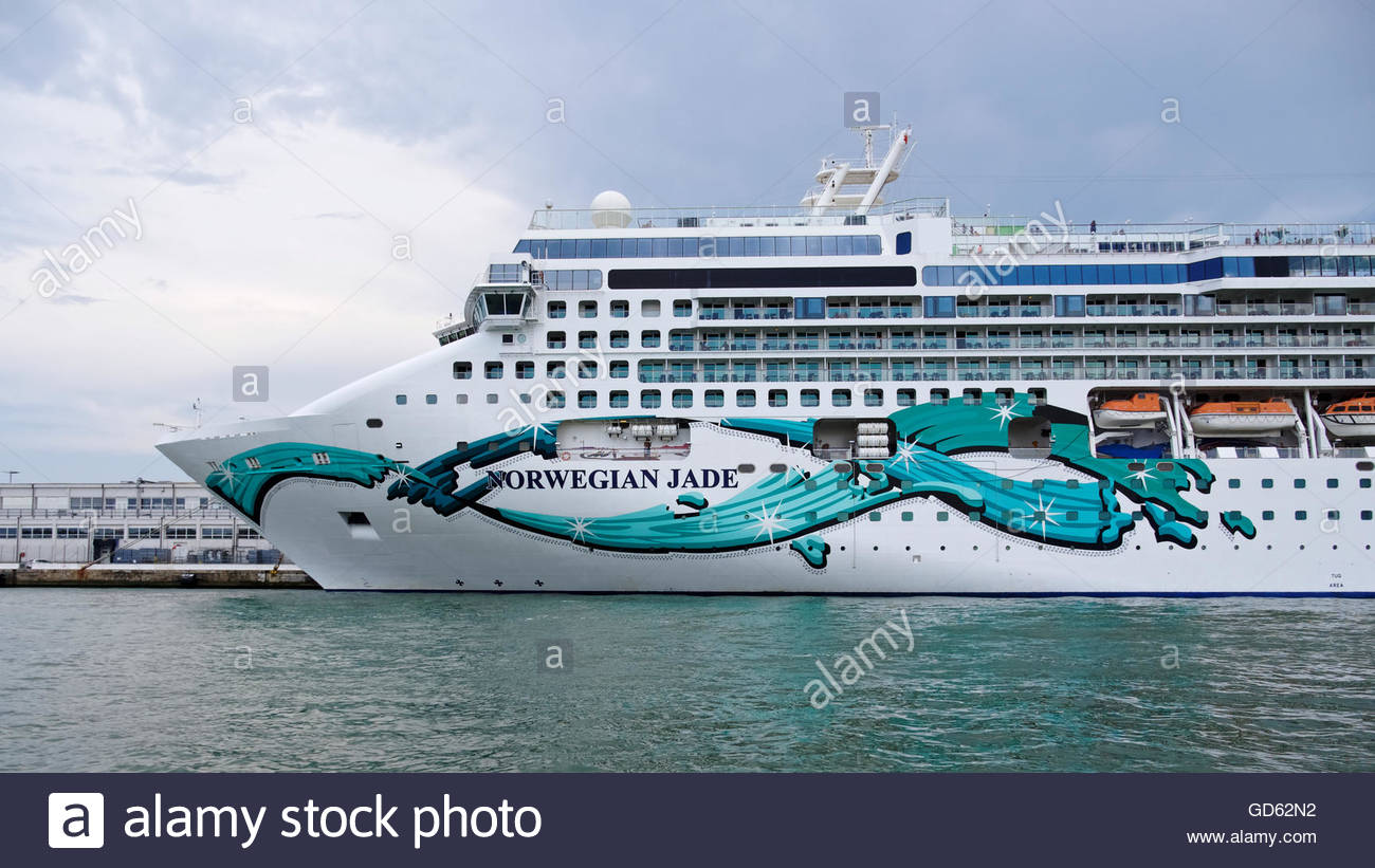 NCL Norwegian Jade Cruise Ship Moored In The Port Of Venice Italy - Cruise ships in venice port