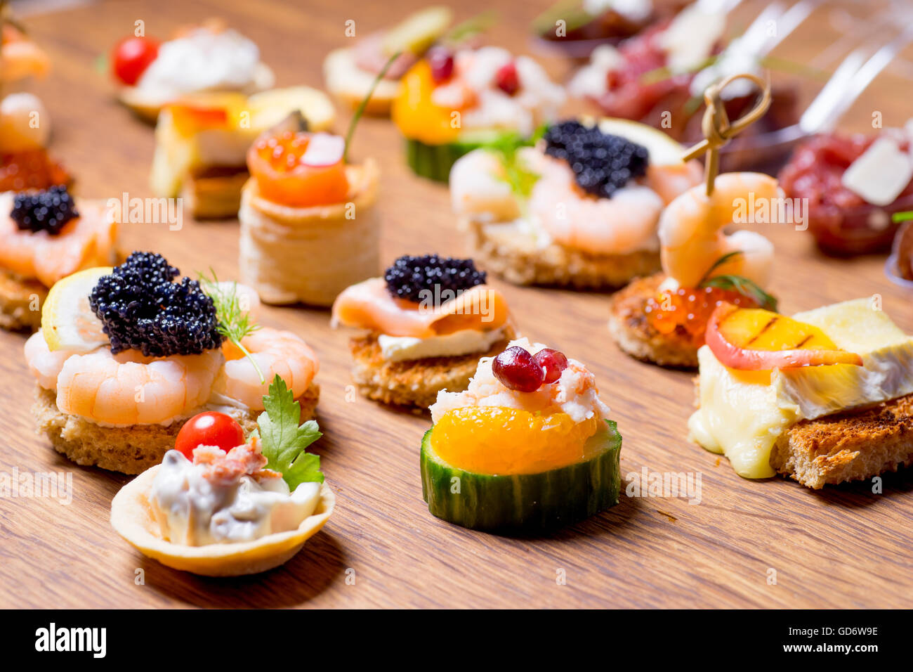 exquisite selection of luxury canapes appetizer ready to be served stock photo royalty free. Black Bedroom Furniture Sets. Home Design Ideas