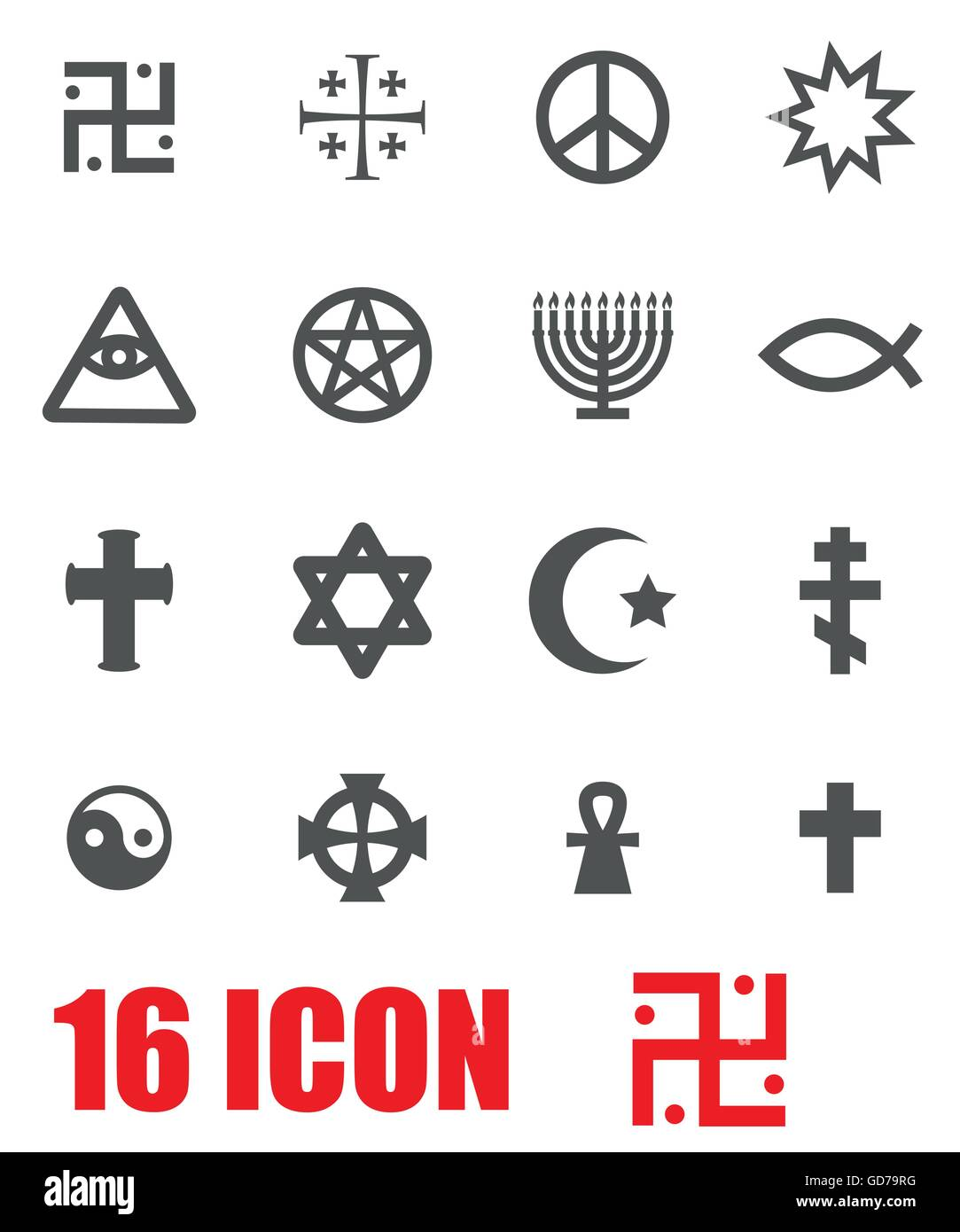 Vector Grey Religious Symbols Set Stock Vector Art Illustration