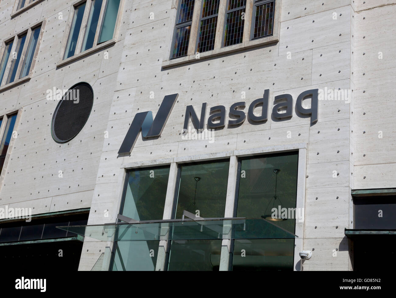 Entrance to and front of the Nasdaq Stock Market building in Stock Photo, Royalty Free Image ...